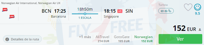 Many European cities to Singapore from €141 one-way!