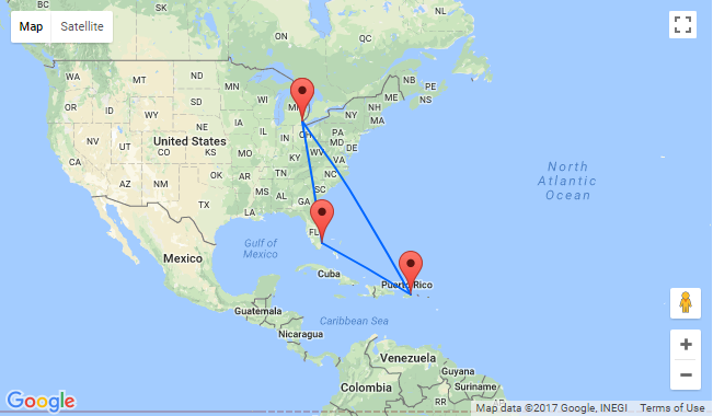 Map Of Florida Cuba And Puerto Rico.2 In 1 High Season Flights From Detroit To Florida And Puerto Rico
