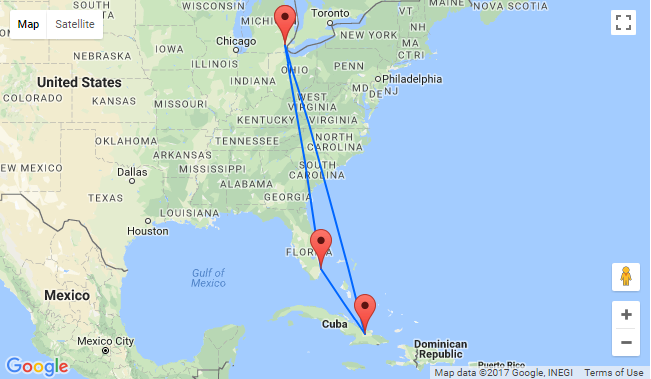 Cuba Florida Map.2 In 1 High Season Flights From Detroit To Both Florida And Cuba