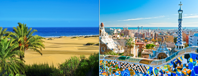 Cheap flights from Paris to Barcelona and Gran Canaria in one trip for just €57!