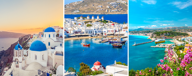 5 in 1: Germany to Mykonos, Athens, Santorini, Marseille and London in one trip for €122!