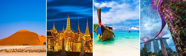 7 in 1: London to Finland, Qatar, Namibia, South Africa, Bangkok, Phuket and Singapore in one trip for only £584!