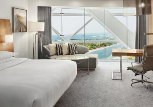 King room (42 sq.m.) at superb 5* Hyatt Capital Gate in UAE for only €64! (€32/ $39 per person)