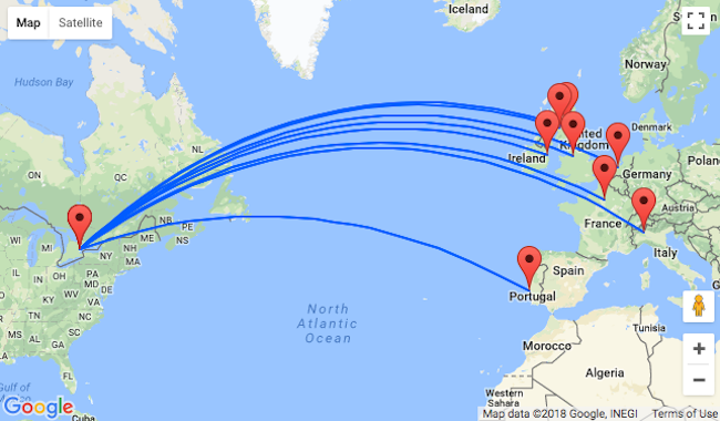 Late summer non-stop flights from many European cities to Toronto ...