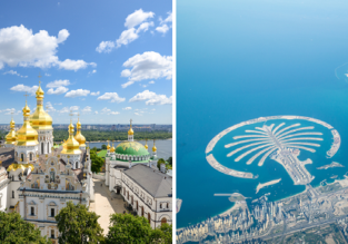 2 in 1: Many European cities to Kyiv and Dubai in one trip from just €101!