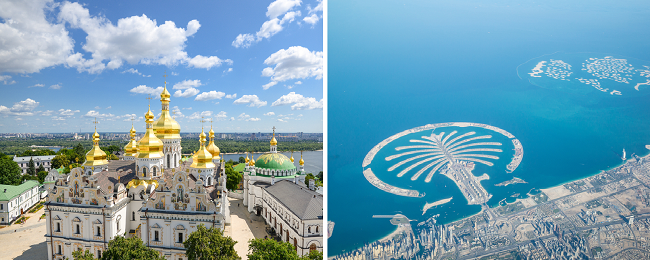 2 in 1: Many European cities to Kyiv and Dubai in one trip from only €83!