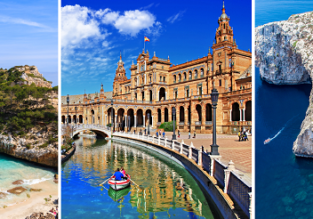 4 in 1: London to Madrid, Mallorca, Seville and Malta in one trip for only £64!