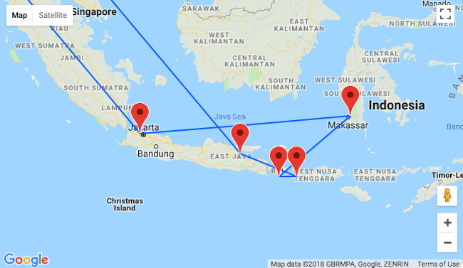Indonesia island hopper from frankfurt for 524 visit jakarta after a few days in jakarta the time to fly to makassar you think sulawesis geography looks fantastic on the map just wait until you see it for real gumiabroncs Gallery