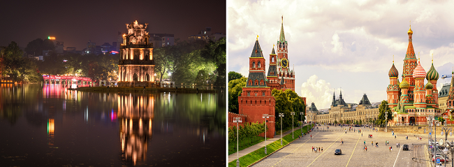 2 in 1: Hong Kong to Hanoi, Vietnam & Moscow, Russia in one trip for $366!