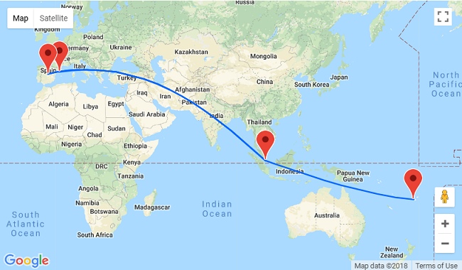 2 in 1: Spain to Singapore & Fiji in one trip for €711!