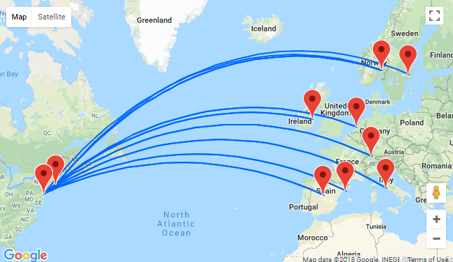 Cheap flights from New York or Boston to various EU destinations from just $368! Peak summer dates available!