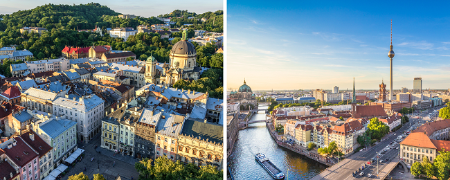 Cheap flights between Berlin, Germany and Lviv, Ukraine from only €20! (€30 without WDC)