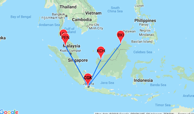 CHEAP! Flights from Jakarta to Penang, Langkawi or Borneo ... on map of delhi, map of bali, map of kota kinabalu, map of singapore, map of mumbai, map of lukla, map of taipei, map of goa, map of barcelona, map of cancun, map of toronto, map of glasgow, map of johannesburg, map of maldives, map of colombo, map of seoul, map of sabah, map of melaka, map of padang besar, map of mauritius,