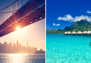 2 in 1: Barcelona to French Polynesia and California in one trip for just €682!