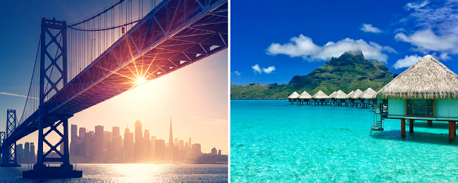 Europe to California & French Polynesia in one trip from €673! Add Polynesian island hopper (5 more islands) for €406 extra!