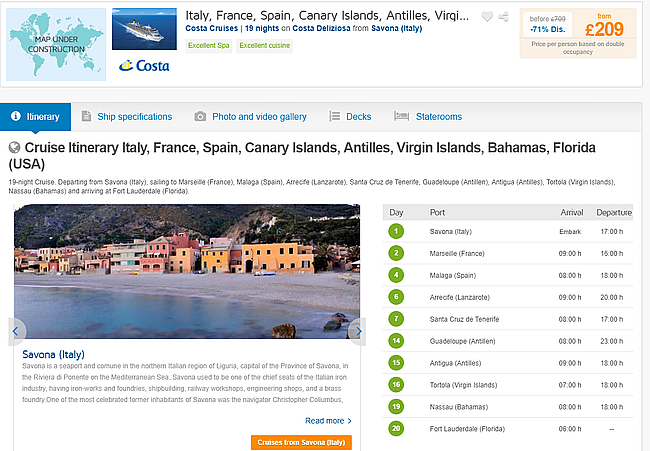 Hot 19 Night Full Board Cruise From Italy To Canary