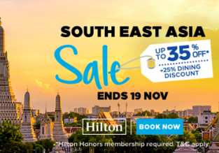 Hilton South East Asia Sale: up to 35% discount on hotel room + 25% dining discount!
