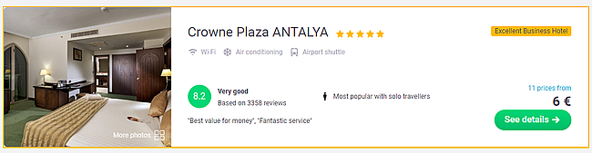HOT! 5* Crowne Plaza Antalya in Turkish Riviera for only €6!
