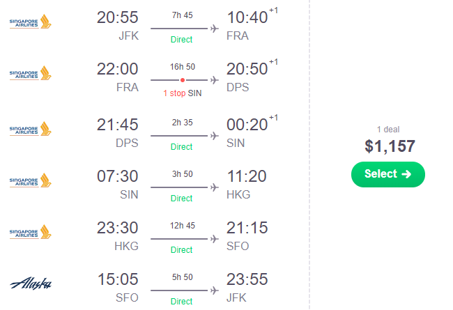 Around the World from USA from $1131 with 5* Singapore ...