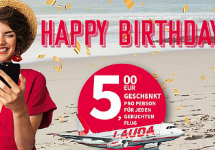 Laudamotion Birthday Promo: €5 flight credit per person for each flight!