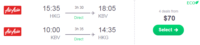 Cheap flights from Hong Kong to Krabi, Thailand from only $70!