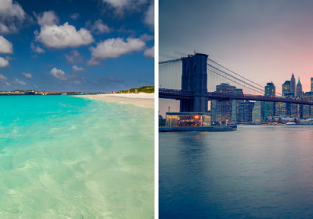 2 in 1! Many European cities to New York and exotic Bonaire in one trip from only €416!