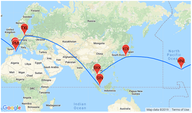 Map Of California And Hawaii.Winter Trip Around The World From Germany For 801 Singapore