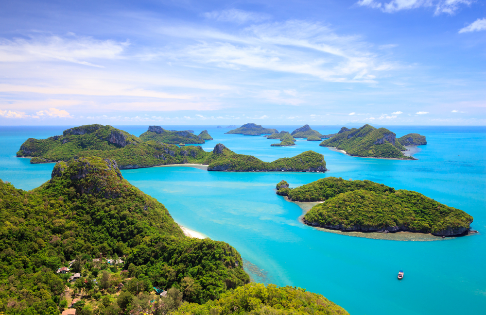 ST Bird eye view of Angthong national marine park koh Samui Suratthani Thailand