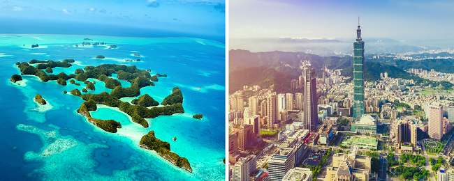 2 in 1: European cities to Palau/Guam & Taiwan in one trip from only €538!
