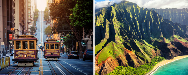 California + Hawaii Island hopper from Scandinavia or UK from only €499 / £538! Visit San Francisco, Kauai, Oahu, Maui and Big Island!
