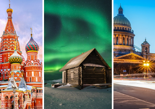 3 in 1 fom London: Moscow, St Petersburg and aurora hunting in Murmansk just £101!