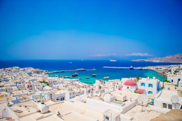 ST Top view of the old city and the sea on the island of Mykonos GreeceNEW