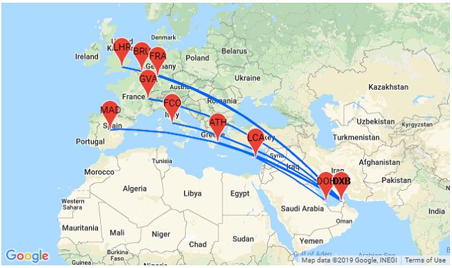 Open-jaw flights from Europe to Doha or Dubai from only €165! on bordeaux on world map, manama on world map, riyadh on world map, sanaa on world map, bahrain island on world map, thessaloniki on world map, cincinnati on world map, fuzhou on world map, jeddah on world map, gdansk on world map, dushanbe on world map, miami on world map, kano on world map, qatar on world map, laccadive sea on world map, pristina on world map, bhutan on world map, makkah on world map, belize city on world map, yerevan on world map,