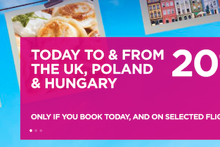 Wizz Air SALE! 20% off for flights to & from the UK, Hungary or Poland!