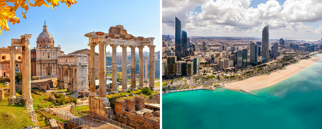 Etihad 2 in 1: London to Rome, Italy & Abu Dhabi, UAE for only £253!