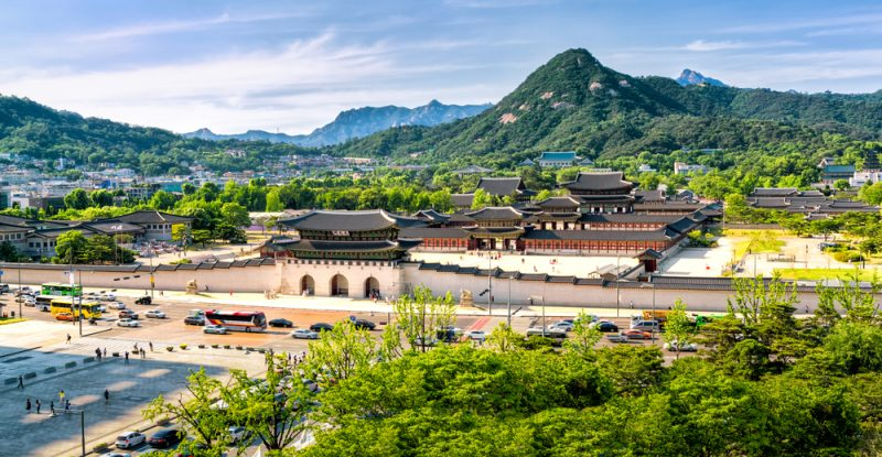 ST Aerial panoramic of Gyeongbokgung palace and the Blue House Seoul South KoreaNEW