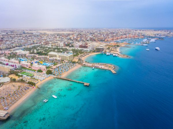 ST An aerial view on Hurghada town in Egypt