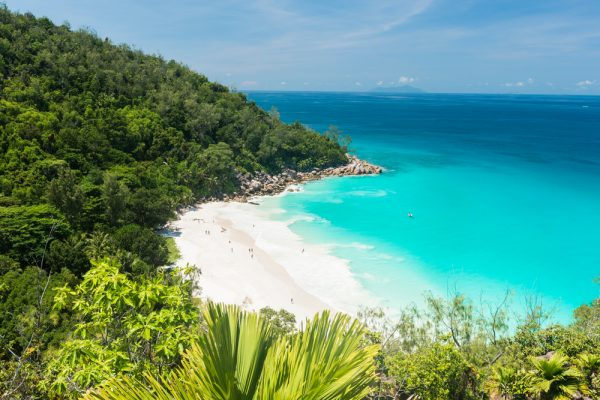 ST Beautiful and a famous beach Anse Georgette from above Praslin island Seychelles