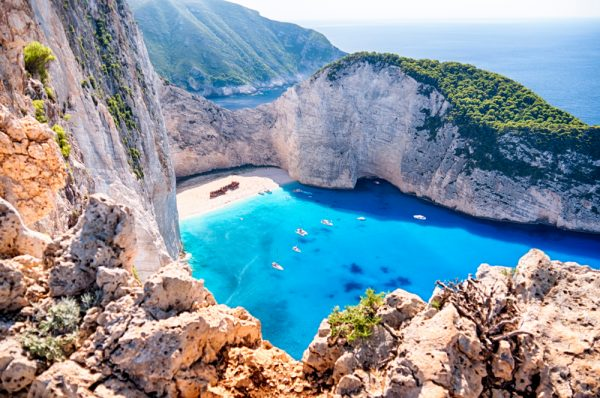 ST Zakynthos Navagio beach with the famous wrecked ship in Zante Greece