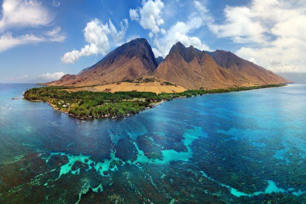 ST NEW Hawaii Aerial Panorama Island of Maui Olowalu Area