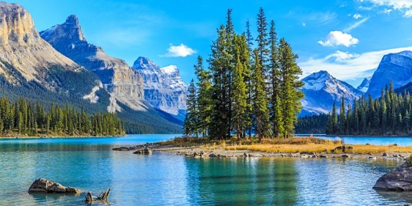 750px ST Spirit Island in Maligne Lake Jasper National Park Alberta Canada near Calgary and Edmonton