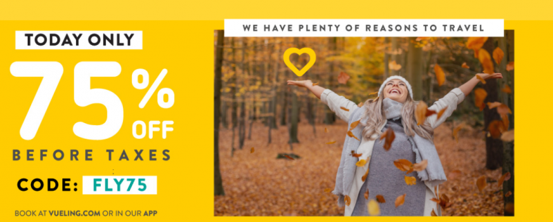 Vueling promo code: 75% discount on all flights!